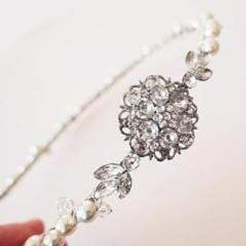 Swarovski Bridal Headband Pearl and Crystal with Flower and Leaves