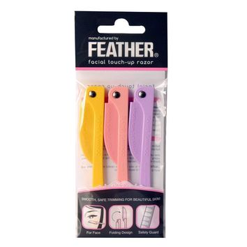 Feather Flamingo Facial Touch-up Razor Pack of 3 Razors