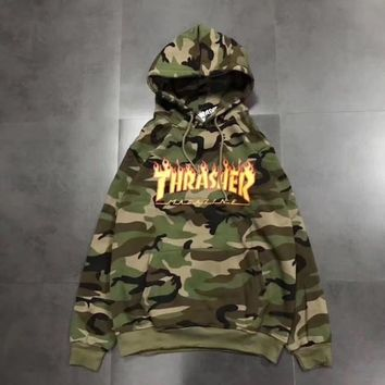 Thrasher Camouflage Woman Men Fashion Flame Top Sweater Hoodie