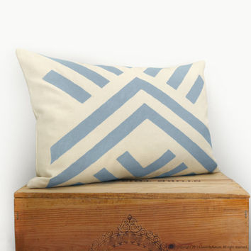 Tribal pillow cover - Throw pillow covers - Handprinted pillow in  rainny blue and cream with geometric design - 12x18 lumbar pillow case