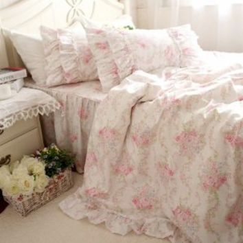 DIAIDI Home Textile,Pink Floral Bedding Set,Elegant Ruffle Bedding,Twin/Queen/King,4Pcs