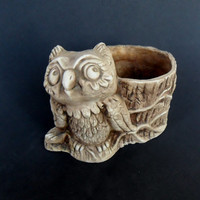 Vintage Brown Owl Planter Decor Ring Holder Candle Holder Catch All Succulent Pot Candleholder