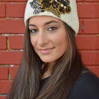 White HandKnitted Headband With Sequins Flower Embellishment Headwarmer Wide Headband Ear Warmer - Handmade