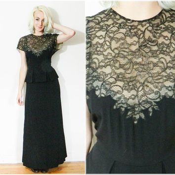 40s 50s vintage peplum gown / 1940s 1950s black lace floor length dress / size small s retro elegant silk dress