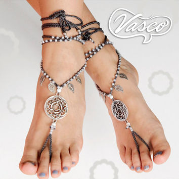 Boho Barefoot Sandals, Silver Barefoot Sandles, Crochet Barefoot Sandal, Yoga, Anklet Hippie shoes, Gypsy