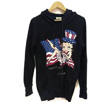 Betty Boop Hoodie sweatshirt Big Logo spellout Embroidery Street wear a greates  us citizens  American flag vintage