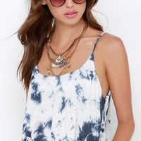 Amuse Society Bungalow Blue Tie-Dye Crop Top