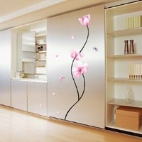 1 X Pink Flower Stem - Easy Removable Wall Decor Sticker Wall Decal - Pink Flower stem Room decor
