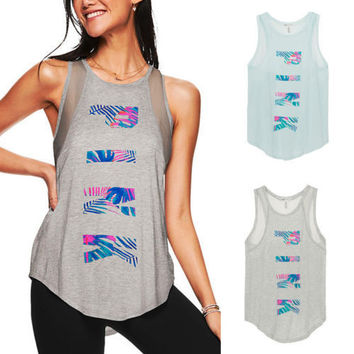Victoria's Secret PINK Letter Print Top Tee Tank