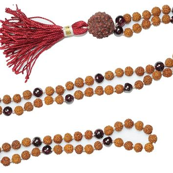 Mogul Buddhist Mala beads Necklace Knotted 108 Garnet AMBITION Rudraksha Healing japaMala: Amazon.ca: Jewelry