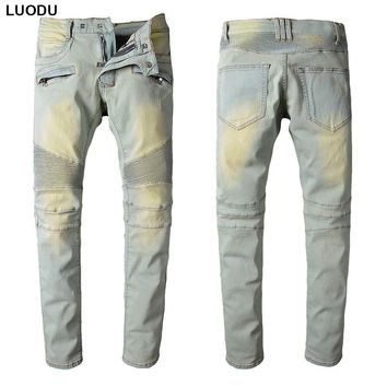 New France Style #1016# Mens Distressed Stretch Moto Pants Bleached Blue Biker Jeans Slim Trousers Size 29-42