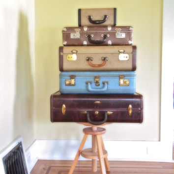 suitcase vintage dark brown luggage / 1950s decor / old suitcases /decorative suitcases /midcentury stacking suitcases/ wedding card decor