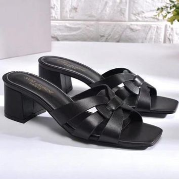 YSL Yves Saint laurent Women Fashion Casual Low Heeled Shoes Slipper Shoes-8