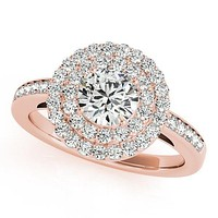 Susannah Round Moissanite Channel Shank Double Halo Engagement Ring