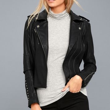 Austin Nights Black Vegan Leather Studded Moto Jacket