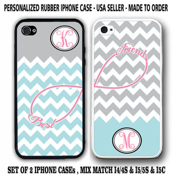 NEW PERSONALIZED GREY BLUE CHEVRON BFF BEST FRIENDS CASE For iPhone 6S 6 5S 5C 4