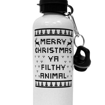 Merry Christmas Ya Filthy Animal Christmas Sweater Aluminum 600ml Water Bottle