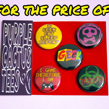 Geek button pack 5 badges by purplecactusdesign on Etsy