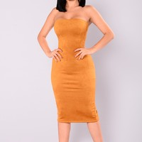 Little Thrills Suede Dress - Mustard