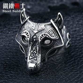 steel soldier Nordic wolf hammer of Thor Norse Viking men ring 2018 new arrivals men's jewelry