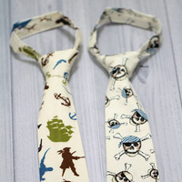 Pirate Boys Neck Tie. Tossed Pirates or Skulls, Birthdays, Church, Wedding, Photo Prop. Every Day wear.