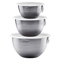 Tovolo Stainless Steel Mixing Bowls Set of 3 with Clear Lids