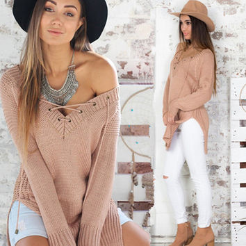 V Lace Up Tie Side Split Long Sleeve Knitted Sweatshirt