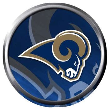 NFL Superbowl LA Rams Blue Cool Football Fan Logo 18MM-20MM Snap Jewelry Charm New Item