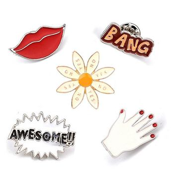Trendy Cool Red Lips Fingers Sunflower Awesome Bang Letters Brooch Button Pin Denim Jacket Shirt Pin Badge Jewelry Gift for Loves Kids AT_94_13