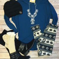 Long Sleeve Dolman: Teal