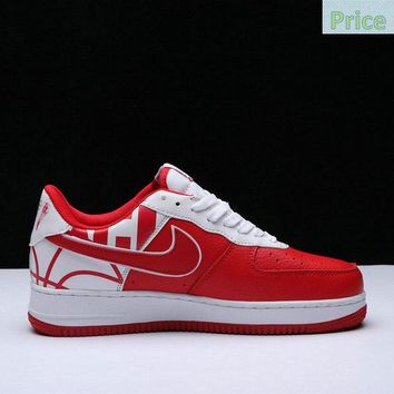 2018 Purchase Men Nike Air Force 1 07 LV8 Blood Red White sneaker