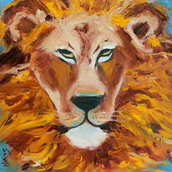 Lion - Original Oil Painting - Canvas Board - Narnia - 12 x 12 - Honeyscolors