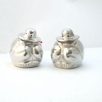 Sterling Mexican Salt Shakers - Vintage Figural Set - 2 Men Dos Amigos from Mexico