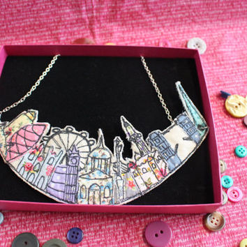 Free motion machine embroidered and appliqué Statement pendant style London Skyline necklace from Lottie's Signature Range.