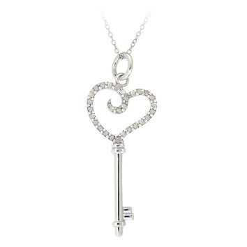 Sterling Silver 1/5ct TDW White Diamond Heart Key Necklace