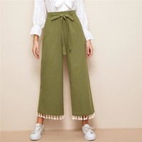Casual Boho Army Green Tassel Hem Belted Wide Leg Crop Pants Women Solid High Waist Straight Pants
