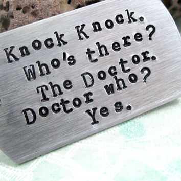 Doctor Who Key Chain Knock Knock Who's There  Hand by oneeyedfox