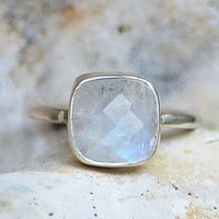Faceted Rainbow Moonstone sterling silver cushion square cut stacking bezel set ring - June Birthstone