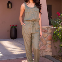 Until Dusk Jumpsuit - Olive