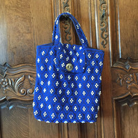 Vintage Acrylic Bead Purse, Royal blue Handbag, Electric Blue and white beaded bag