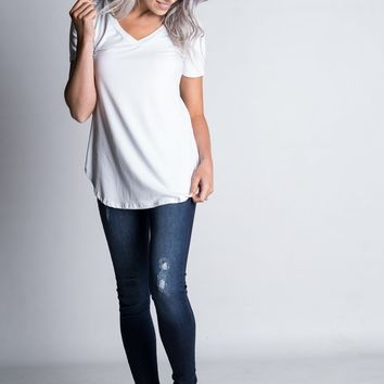 Must Have Basic V Neck Tee in White (S-3XL)