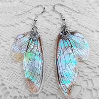 Fairy Wing Earrings - Magical Jewelry - Fantasy Earrings - Nature Inspired Jewelry - Iridescent Fairy Wings - Mother of Pearl