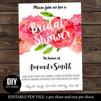 Floral Bridal Shower Invitations - Floral Bridal Shower Invitations -  Floral bridal shower - PDF Instant Download #DPI1303