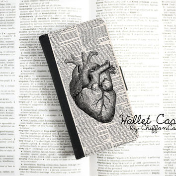 Heart Anatomy iPhone 4 Wallet Case, iPhone 4 Case, Leather iPhone 4s Wallet Case, iPhone 4s Flip Case, Gift for her