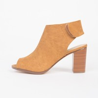 Open Toe Block Heel Booties