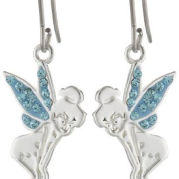 Disney Fine Silver Plated Disney Tinkerbell Crystal Earrings