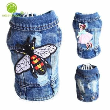 Fly Embroidered Pet Clothes Hole Cowboy Jean Clothes for Small Dogs Chihuahua Dog Jacket Factory Direct Sale Dog Vests