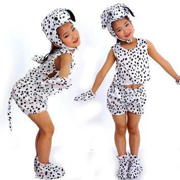 Free shipping ,Children animal spotty dog costume top clothes pants shoes hat gloves s