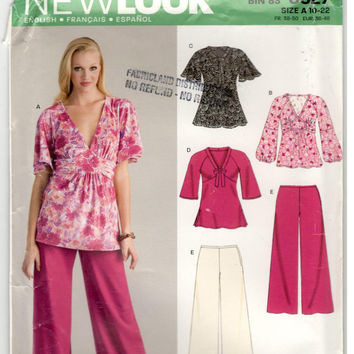 New Look 6627 Size 10, 12, 14, 16, 18, 20, 22 Women's and plus size pattern: tunic and pants.  Raglan sleeve, empire waist top and slacks.