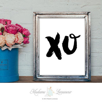 XO art print bedroom wall art printable Art Love romantic printable typographic ink brush art XO wall art print downloadable art xoxo